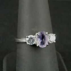Kyпить Ring Silver Amethyst Oval Stone Cubic Zirconia Accents Sterling 925 Size 7.25 на еВаy.соm