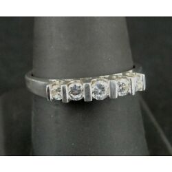 Kyпить Ring Silver Five 5 Stone Cubic Zirconia Band Sterling 925 Size 9.25 Ring Band  на еВаy.соm