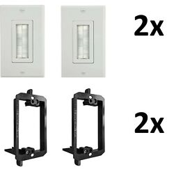 Brush Wall Plate,Decora Style,Cable Pass Through with Mounting Bracket ,2 Pack