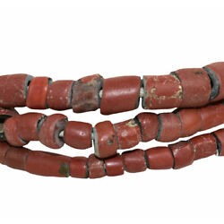 Greenhearts Venetian Trade Beads Red Africa 22 Inch