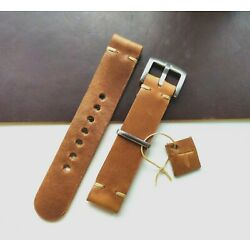 Handmade in England - Horween 20mm Full Grain Natural Brown Leather Watch Strap