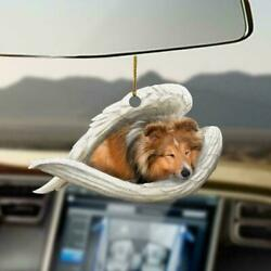 Sheltie Dog Sleeping In Wings Angel Funny Gift Car Hanging Ornament