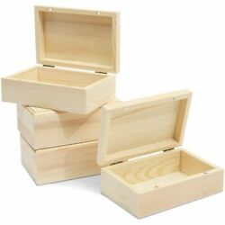 4 Pack Unfinished Natural Wooden Boxes with Hinged Lids for Storing Jewelry