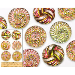 22mm Vintage Czech Glass PINK GREEN AB Shankless No Shank Cabochon Buttons 6pc