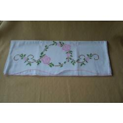 vintage Embroidered Cross-stitch pillow case pillowcase pink flowers