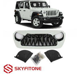Fits Jeep Wrangler JL JT 18-21 Front Grille Shark Style ABS Gloss Black/White