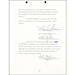 NEIL DIAMOND - CONTRACT SIGNED 11/12/1971 CO-SIGNED BY: TOM CATALANO