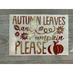 Autumn Leaves and Pumpkin Please Vinyl Decal Sticker - Several Colors Available
