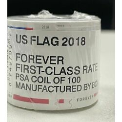 1 Rolls of 100 American Flag 55¢ - Unopened! USA FREE SHIPPING 2018 US stamps