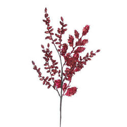 Artificial Floral Sprays of Glittery Red Holly Leaves