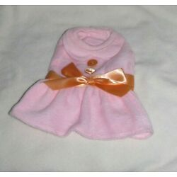 I SEE SPOT Pink with Orange Bow and Buttons Dog Coat -  Small  NWT