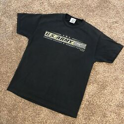 US Army Combat Ready Combat Proven Black T Shirt 2005 Printed In USA Size Large