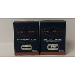New Lot of 2 King C Gillette Double Edge Safety Razors 10 Blades Each