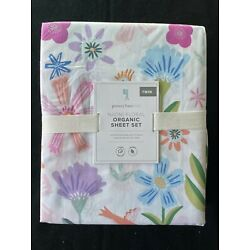 Pottery Barn Kids Naomi Floral Organic Twin Sheet Set New With Tags
