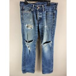 Mens Blue Abercrombie & Fitch Distressed Straight Cotton Jeans Tag 32x32(35x33)