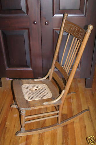 Antique Wicker Needs Cane Repair Rocker Rocking Chair Ebay
