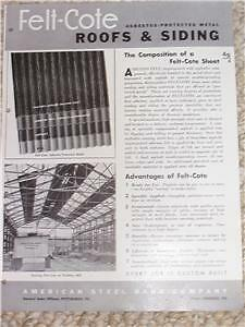 Vtg felt cote asbestos metal roofs siding sheet catalog ebay for Philip carey asbestos