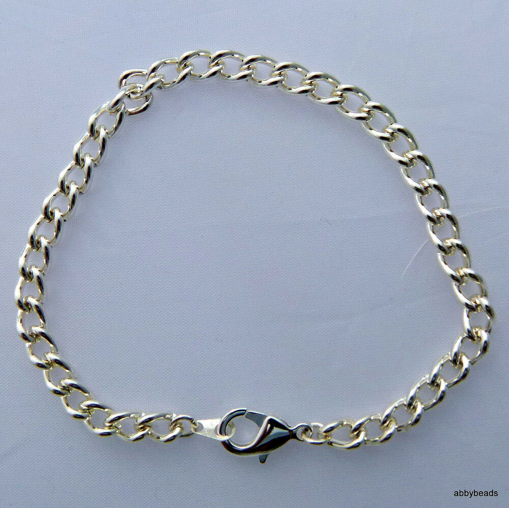 charm bracelet chain silver plated with lobster clasp x 1 ebay. Black Bedroom Furniture Sets. Home Design Ideas