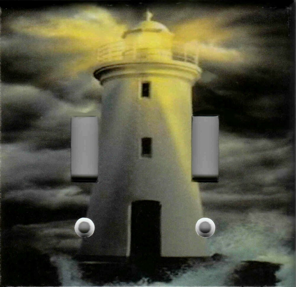 Lighthouse storm lighthouse nautical home wall decor for Lighthouse switch plates