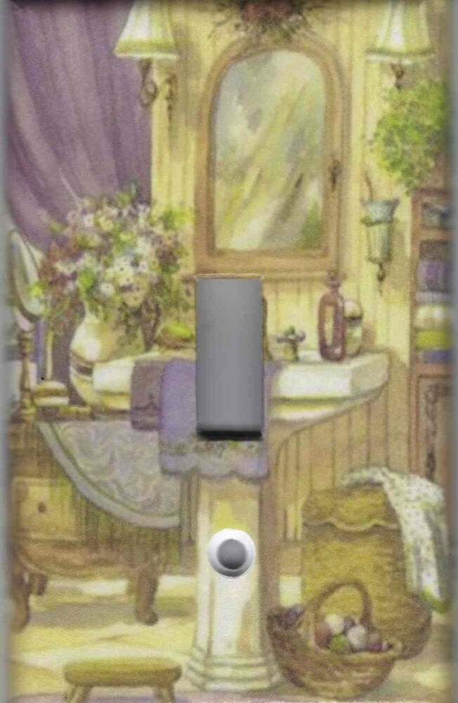 Victorian bath home wall decor single light switch plate for Victorian wall decor