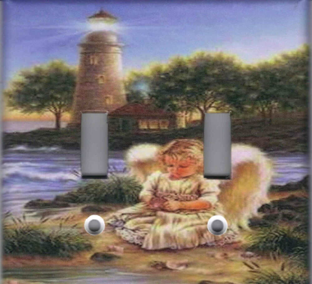 Angel with lighthouse home wall decor double light switch for Angels decorations home