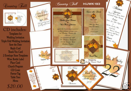 Wedding Invitations Country Theme: Delux Country Fall Theme Wedding Invitation Kit On CD