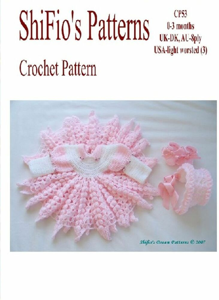 Crochet Pattern Baby Girl Dress Hat Shoes