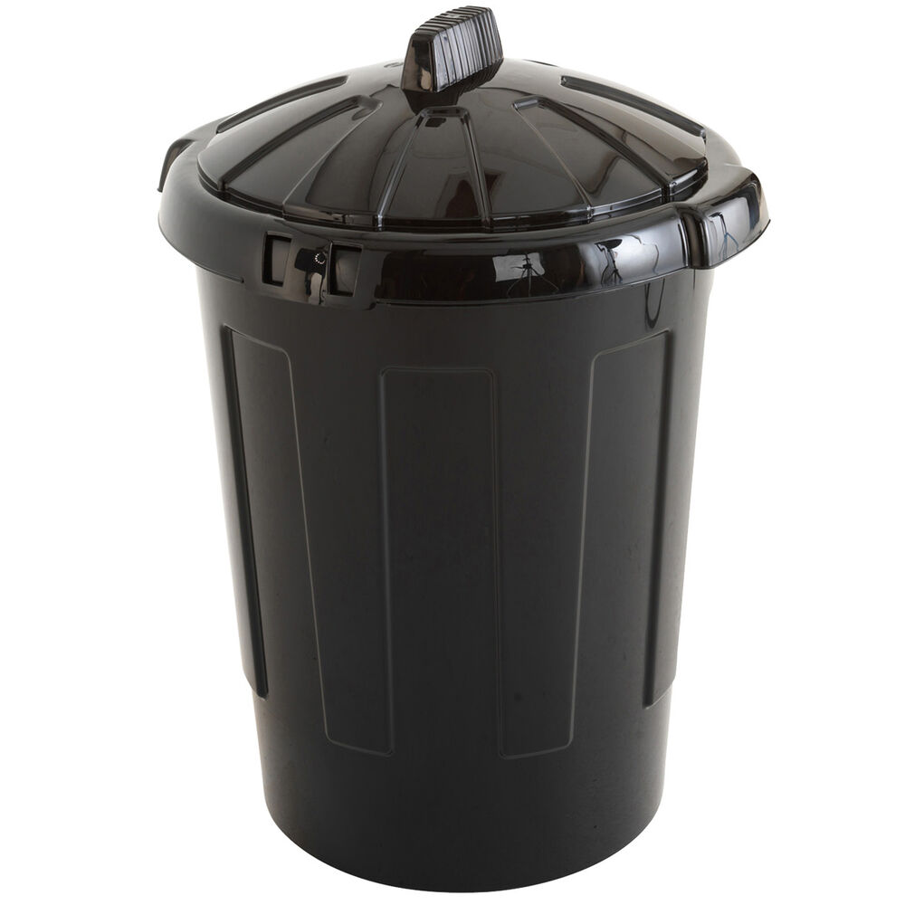 Black Kitchen Bin Sale: 80 Litre Black Plastic Dustbin With Lid Dust Bin Waste