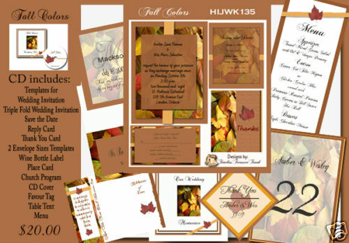 Fall Color Wedding Invitations: Delux Fall Colors Themed Wedding Invitation Kit On CD