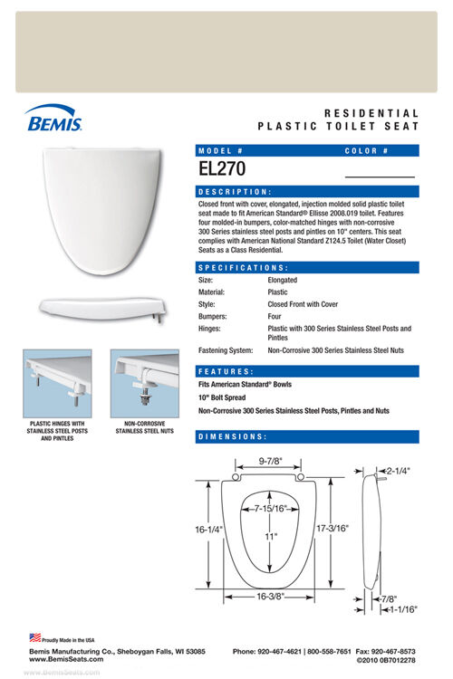 El270 006 Bone Toilet Seat For American Standard Ebay
