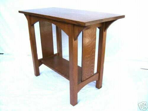 Quartersawn oak arts crafts sofa table mission style for Arts and crafts sofa table