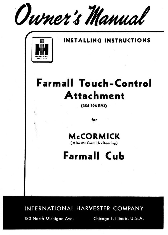 farmall cub touch control attachment owners manual ebay. Black Bedroom Furniture Sets. Home Design Ideas