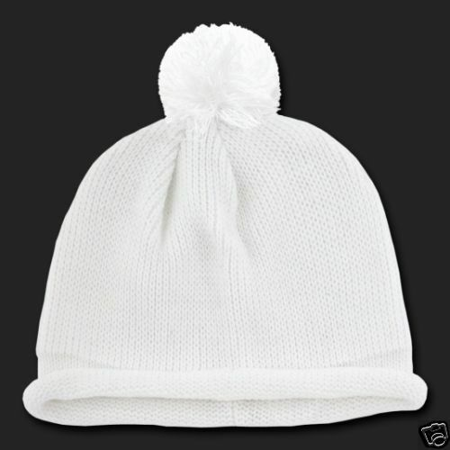 85b2f9ee14f3c8 Details about Solid White Pom Beanie Knit Stocking Cap Skully Winter Hat  Beanie Knit