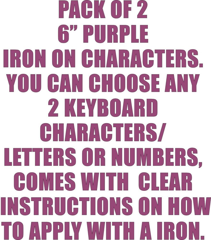 how to iron on letters pack of 2 x 6 quot purple iron on characters letters or 11753 | s l1000