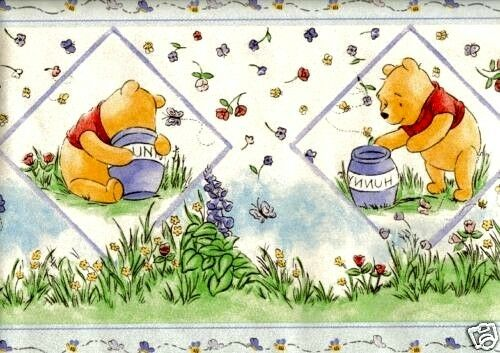 winnie the pooh with honey pots wallpaper border 83066270 ebay. Black Bedroom Furniture Sets. Home Design Ideas