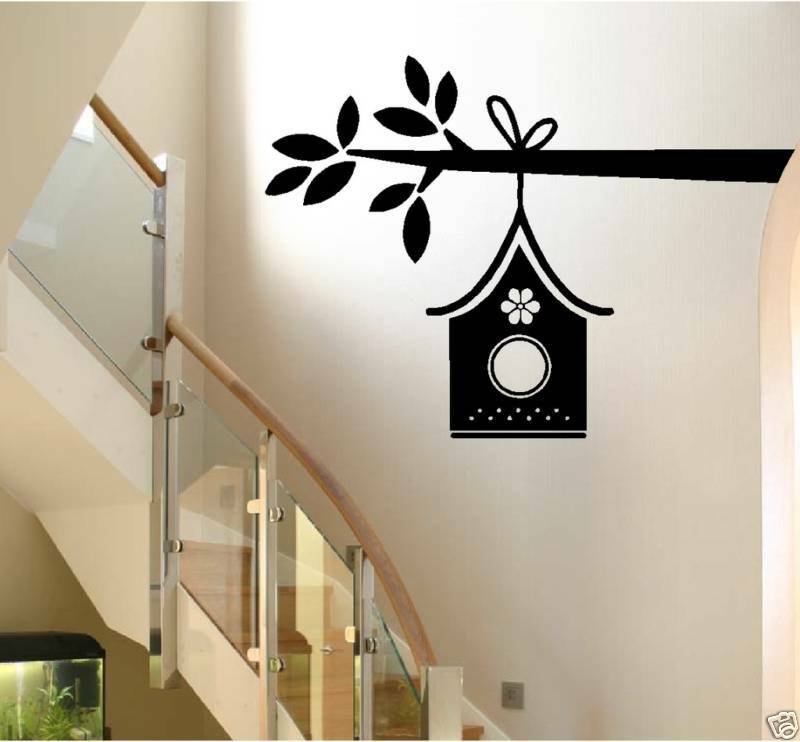 Bird house on a branch wall decal home decor birdhouse for Bird home decor
