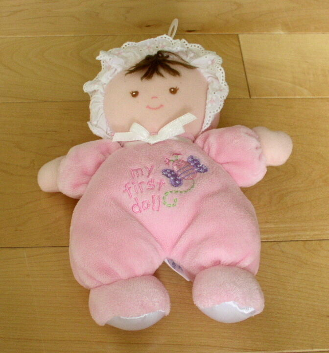 small wonders my first doll pink plush brown hair doll