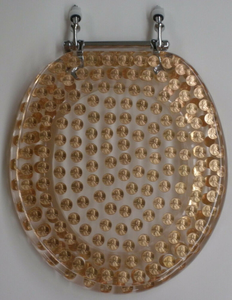 elongated pennies penny coins resin toilet seat ebay. Black Bedroom Furniture Sets. Home Design Ideas