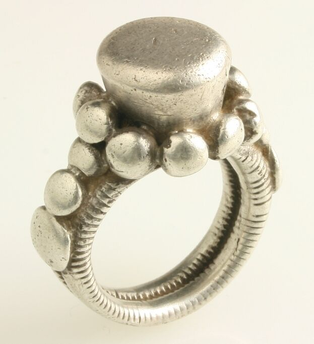 Exceptional vintage silver Fulani ring. African Tribal
