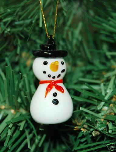 Mini handmade snowman glass christmas ornament ebay