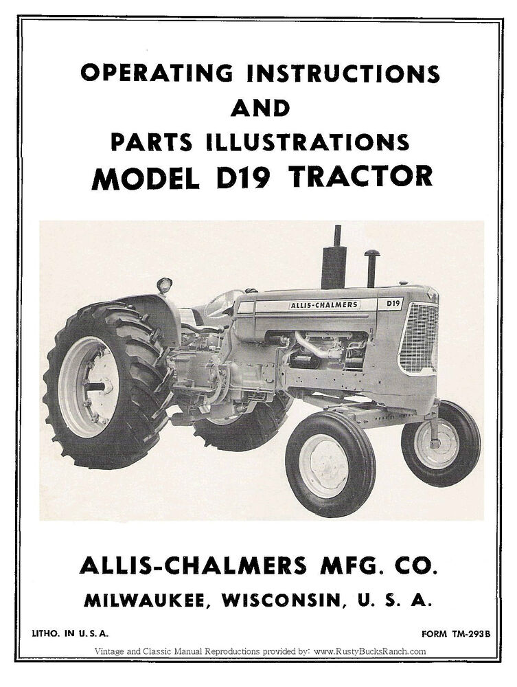 Ac Tractor Parts : Allis chalmers model d tractor operators and parts