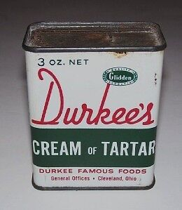 Vintage kitchen spice tin durkee 39 s cream of tartar ebay for Retro kitchen set of 6 spice tins
