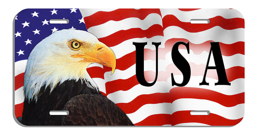 Selling A Car In Illinois >> U.S.A FLAG FLAGS WITH EAGLE LICENSE PLATES CUSTOMIZED | eBay