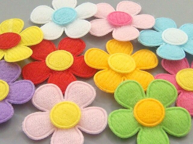 felt flower craft ideas lot of 100 padded felt flower appliques 10 color a75 ebay 4456