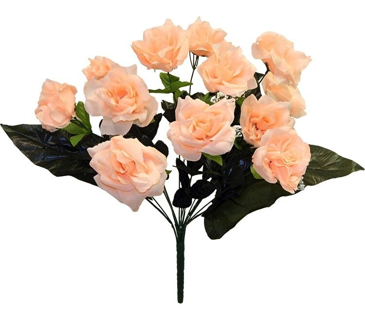 How Long Should Bridal Bouquet Stems Be : Open roses peach long stem silk wedding centerpieces