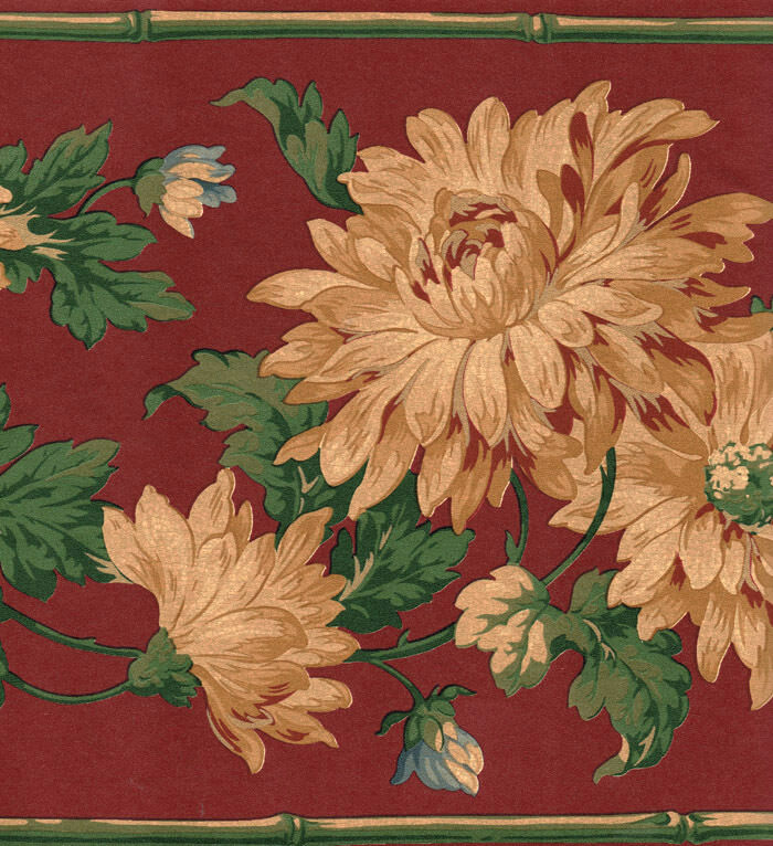 Victorian Mural Wallpaper: Cranberry & Gold Victorian Floral Wallpaper Border