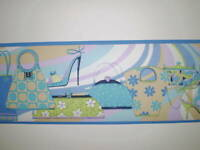 Purple and Blue Purses & Shoes Girl's Room Border by Norwall  GU79201