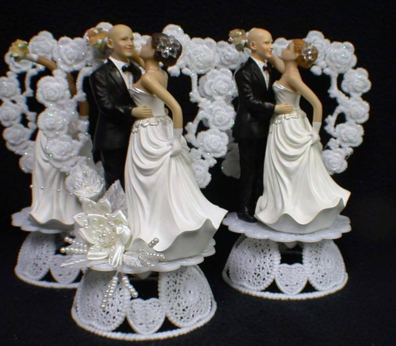 wedding cake toppers bald groom bald groom you hair color blond brown or 26387