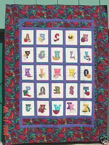 Alphabet Quilt Machine Applique pattern & templates eBay