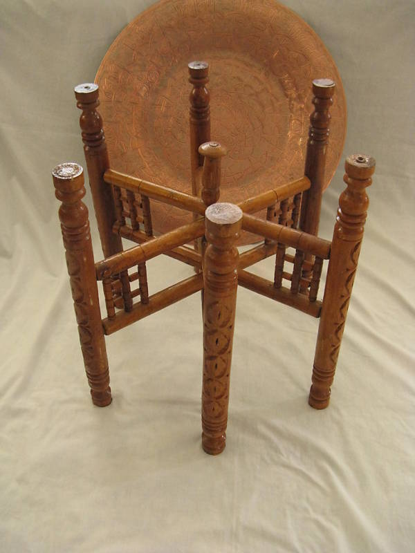 Egyptian Copper Tray Wooden Table Stand Arabic Islamic Design Tea Coffee 20 Ebay